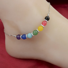 Vintage Punk Silver 7 Chakra Anklet Charm Tassel Foot Bead Bracelet For Women Men Beach Ankle Cheville Tobillera Anklets
