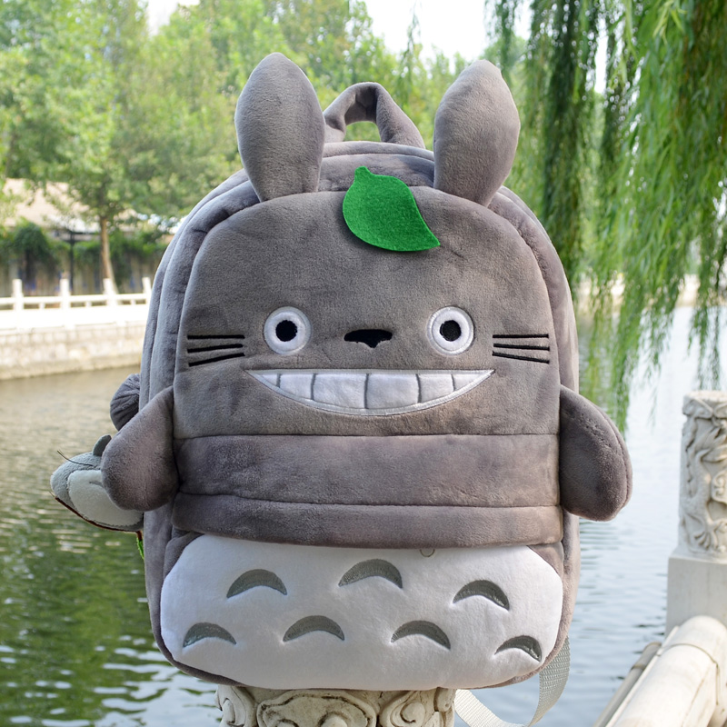 Super funny 1pc 35cm cartoon anime totoro cute lucky plush backpacks school outdoor bag kids children kindergarten baby toy gift(China)