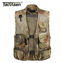 TACVASEN Summer Tactical Mesh Army Vest Men Multi Pockets Fish Hunt Vest Shoot Waistcoat Outerwear Clothing BJXL-001(China)