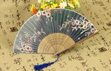 2016 New Hot Chinese Japanese Vintage Fancy Folding Fan Hand Plastic Lace Silk Flower Dance Fans Party Supplies For Gift