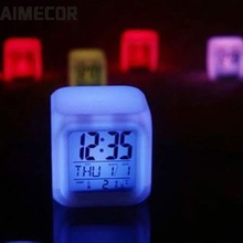 AIMECOR Alarm Clock 7 LED Colors Changing Digital Alarm Clock Desk Gadget Digital Alarm Thermometer Night Glowing Cube LCD Clock
