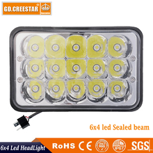 Rectangle shape 6x4 led truck lights 45W High/Low beam in the one 12V led sealed beam KR7451 suit for Kenworth trucks lights x1(China)