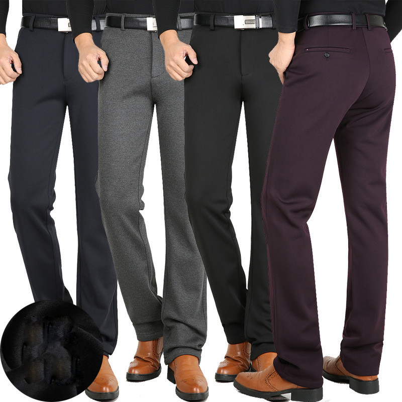Winter Men's Casual pants Plus velvet Thick High waist Stretch Knit Casual pants Fashion Straight Men's Free trousers Size 29-42