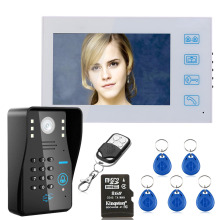 "7"" HD Recording RFID Password Video Door Phone Intercom Doorbell With 8G TF Card Night Vision Security CCTV Camera(China)"