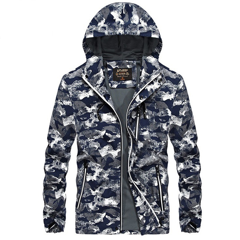 Fashion Camouflage Military Mens Jackets And Coats Spring Autumn Mens Bomber Jackets Casual Hooded Collar Windbreaker Coat Male