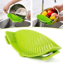 Multifunction Kitchen Extras Silicone Clip-On Snap Pan Strainer For Draining Excess Liquid Clip Colander 54100 Gift(China)