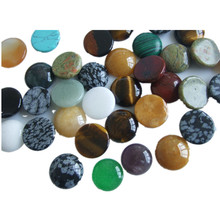10pcs Flatback Natural Stone Cab Cabochon Bead Round 12mm 14mm 16mm 18mm 20mm For Jewelry Making DIY Beads(China)