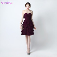 2017 Short Bridesmaid Dresses Chiffon Knee Length Dark Purple Cheap On Sale Ruffles Wedding Event Brides Maid Dress Under 60(China)