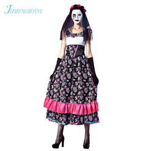JIZHENGHOUSE Flower Fairy Halloween Ghost Vampire Bride Fancy Dress Halloween Sexy Lady Party Costume