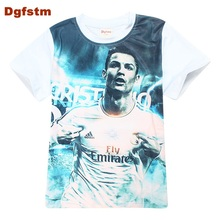 DGFSTM Football T Shirt Ronaldo Boys' Short Sleeve Tshirts Baby Summer Costume White Children Boys Shirts Sports Boys T shirts(China)