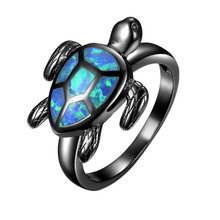Unique Turtle Blue Fire Opal Animal Rings For Women Wedding Band Fashion Jewelry Vintage Black Gold Filled Cocktail Ring RB1034