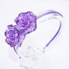 Children Solid Color Flowers Hair Band Baby Cute Hair Hoop Boutique Glisten Rhinestone Head Band Girls Hair Accessories