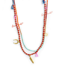Red coral strand necklace with feather love and horseshoe Sterling Silver Gold Vermeil Charms