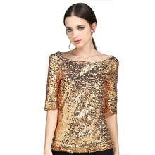 New Half Slveeve Slash Neck Sequins Mesh Sexy Slim T-shirt Women Plus Size S-5XL Tee Shirts Silver Gold Black Casual Tops(China)