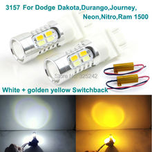 For Dodge Dakota,Durango,Journey,Neon,Nitro,Ram 1500 Excellent 3157 Dual-Color Switchback LED DRL+front Turn Signal light