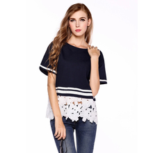 Casual T-shirts For Women 2017 Sexy Lace Patchwork Blusas Cotton T Shirts Big Size Lace Crochet T Shirt Woman Top Hollow Out Tee