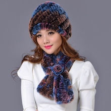 Rex rabbit fur accessories all-match warm winter female hat scarf two piece(China)
