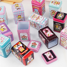 Cute Cartoon Picture Tin Box Macaron Lipstick Box 6Piece/Lot Beauty Girl Metal Tea Storage Box Mac Cosmetics Organizer