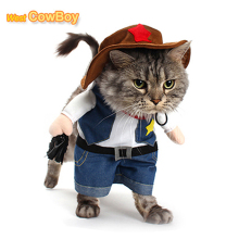 Funny Pet Costume Cowboy Cosplay Suit Halloween Christmas Costume Puppy Suit Dressing Up Party Clothes For Dog Costume for a cat(China)
