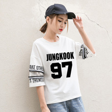 2017 BTS KPOP Summer Harajuku Stitching Korean version black White Women's cotton Letter printing Five sleeves Speaker T-shirt