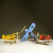 30CM Plane Model in Toy Vehicle Metal Iron Retro Biplane Figurines Aircraft Glider Airplane Gifts for Children Photo Props(China)