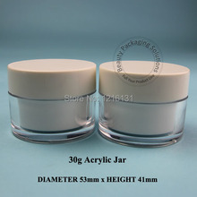 10pcs/lot Promotion 30g Acrylic Cream Jar Bottle Double Wall Empty Plastic Facial Mask Makeup Container Cosmetic 30 OZ Packaging(China)