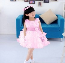 2016 gorgeous princess girl dress/Summer layered chiffon party dress/Beautiful girl rosette dress
