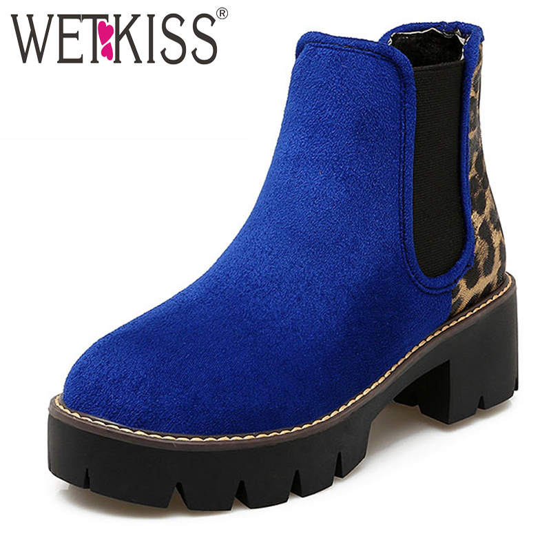 WETKISS Big Size 34-43 New Listed Patchwork Ankle Boots Add Fur Fashion 2017 Retro Thick Heels Platform Fall Winter Shoes Woman<br><br>Aliexpress