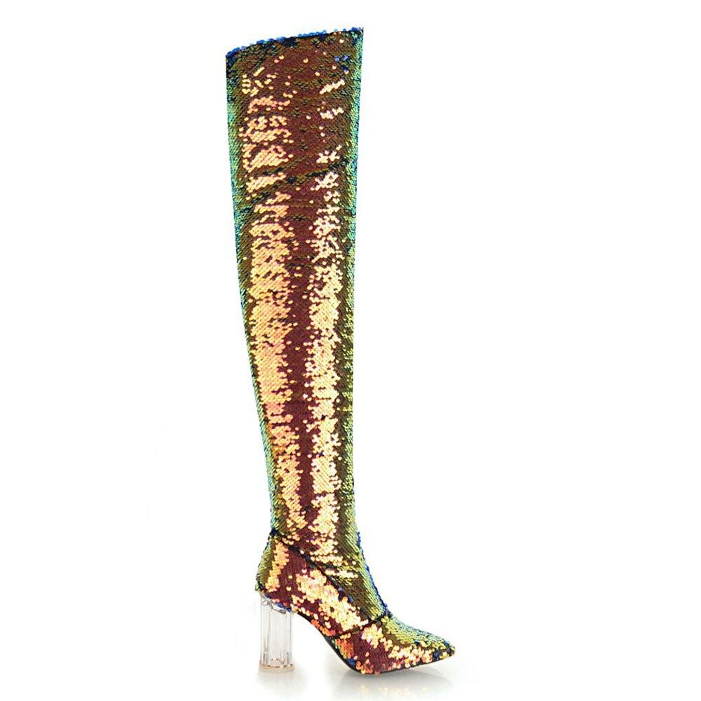 Lasyarrow Autumn Winter High Heels Sexy Over The Knee Boots Gold Silver  Knight Boots Glitter Bling Bling Women Nightclub Boots 874e650d017a