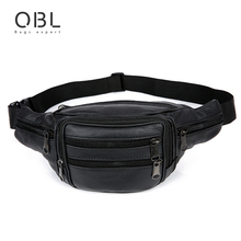 QiBoLu Cow Genuine Leather Waist Pack Fanny Pack Bum Belt Bag Men Pouch Pochetes Bolso Cintura Marsupio Uomo Banane Sac MBA59