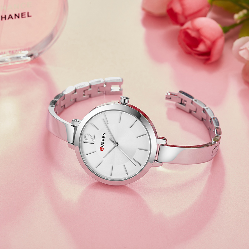 CURREN Fashion Gold Women Watches 9012 Stainless Steel Ultra thin Quartz Watch Woman Romantic Clock Women's Watches Montre Femme