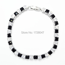 New Spring High Quality Brand Rhodium plated Zircon Bracelet Sapphir black Gem Cubic Zirconia red Tennis Jewelry For Women