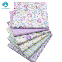 Mensugen 6pcs/lot 40cm*50cm Purple Floral Printed Cotton Fabric for Patchwork Sewing Needlework Material Telas to Patchwork(China)