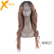 Factory Price None Lace Front Wig Synthetic Machine Made hair Synthetic 28inch Glueness Long Wigs With Bangs For Black Women