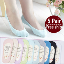1lot=5 pair New Arrival Women Cotton Socks Female solid color candy invisible socks summer thin sweet casual slipper socks