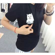 Women T Shirt 2015 Summer Style T-shirt Print Black Pocket Cat Harajuku O-neck Short Sleeve Cotton Couple Tee Plus Size