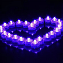 Super bright single LED Submersible candle tea light Waterproof Underwater Floral Light for Wedding/Valentine xmas Party-Purple
