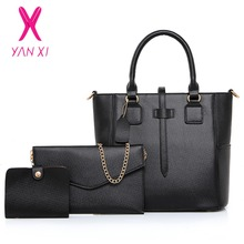 YANXI Shop Online Fashion Lady Tote Shoulder Day Clutches Designer Black Purse And Handbags Leather Women Quality Composite Bag