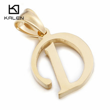 Kalen Unisex 26 Capital Letter Necklace Women Men Stainless Steel Dubai Gold Letter D Pendant With Chain Cheap Necklace Jewelry