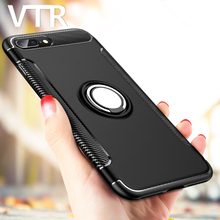 luxury case for iphone 6 6s plus cover soft tpu silicone + pc hard plastic pc holder shell for iphone 7 7 plus protection cases(China)