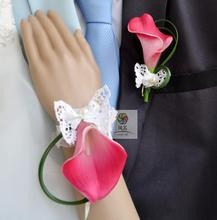 Free shipping hot pink Calla wedding flower brooch corsages prom bride groom wrist corsage(China)