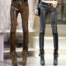 Casual Pants Woman Denim Trouser Fashion Elastic Pencil Pants PU Leather Patchwork Jeans(China)