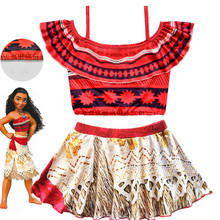 Moana Girls Princess Dress Summer Kids Swim Clothing Cartoon Beach Dress Cosplay Children Red Swimsuit Bikini Adventure Outfit