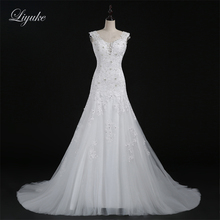 Buy Liyuke Elegant Tulle Scalloped A-line Wedding Dress Beading Appliques Cap Sleeve Brush Train Bride Dresses for $185.59 in AliExpress store
