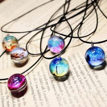 2017 Collares Planet Harajuku Stars Short Necklace Glass Galaxy Pattern Necklaces & Pendants Maxi Necklace For Woman(China)