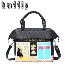 KMFFLY Brand High Quality House Shape Luxury Designer Women Handbags Black Patent Leather Handbag Sac A Main Women Shoulder Bags