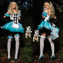 New Women Queen Blue Uniform Fantasy Dress,Adult Alice costumes Snow White cosplay sexy Halloween Costume