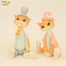 DMLS Home Decor Cute Lover Cat With Hat Figurines Lovely Kitty Resin Artware Wedding Gift  2 pcs/set Free Shipping