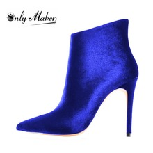 Onlymaker brand top quality Boots Women's sexy Shoes Thin high heel botas fashion blue boots plus size 14