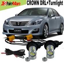 2x New Design Auto LED light 20W LED DRL For TOYOTA Crown Daytime Running Light DRL&Front Turn Signals All In One